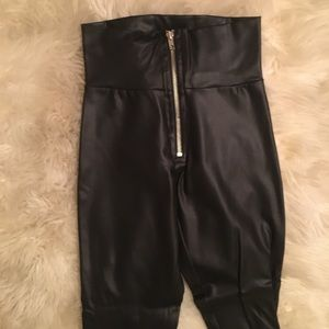 Pleather Leggings with Zipper Detail